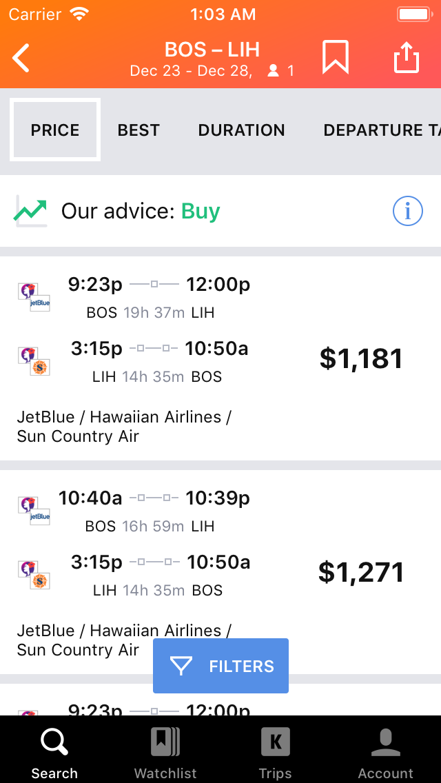Kayak Mobile On Ios And Android Search For Cheap Flights
