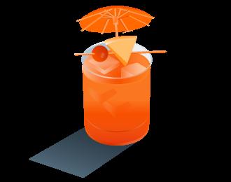 Something fruity with tiny umbrellas