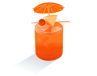Something fruity with tiny umbrellas